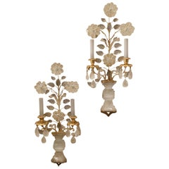 Wonderful Gold Gilt Rock Crystal Baguès Mid-Century Modern 2-Light Sconces, Pair
