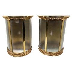 Wonderful Pair Large Bronze Brass Half Round Bowed Glass Lantern Wall Sconces
