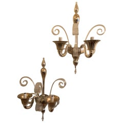 Wonderful Pair Lorin Marsh Two Candelabra Light Murano Silver Tone Glass Sconces