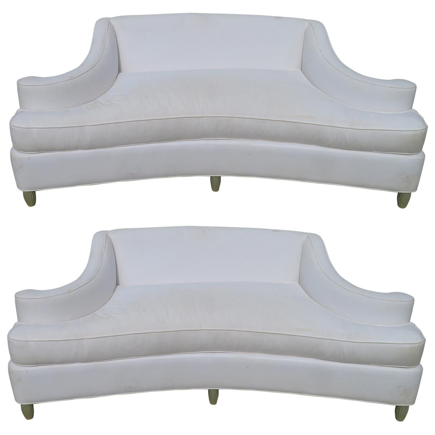 Wonderful Pair Marge Carson Style Exaggerated Scroll Arm Sofa Hollywood Regency