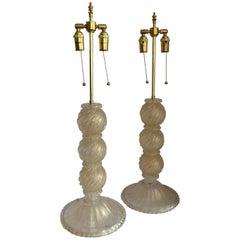 Wonderful Pair Mid-Century Modern Italian Murano Venetian Gold Flake Lamps