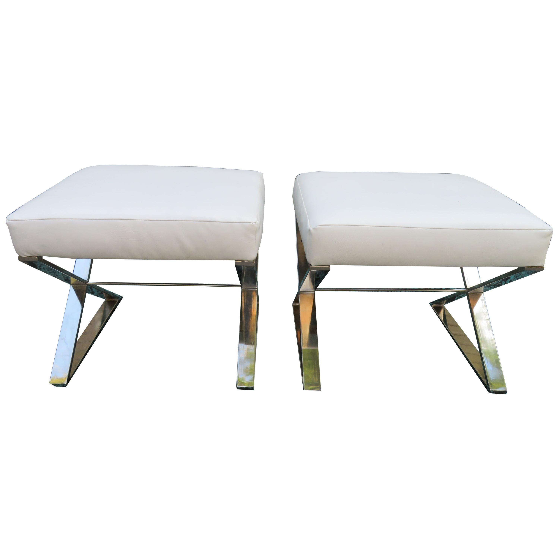 Wonderful Pair Milo Baughman Style Chrome X Base Bench Stools Midcentury