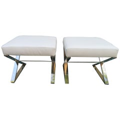 Wonderful Pair Milo Baughman Style Chrome X Base Bench Stools Midcentury