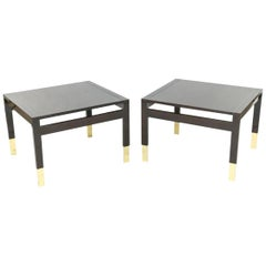 Wonderful Pair of Modern Lorin Marsh Lacquered Wenge Enameled Wood Brass Tables