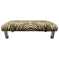 Pair of Modern Zebra Skin Lucite Brass Legs Ottomans Foot Stools Benches