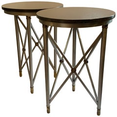 Pair of Neoclassical Granite Brushed Steel Bronze Ormolu Gueridon Tables