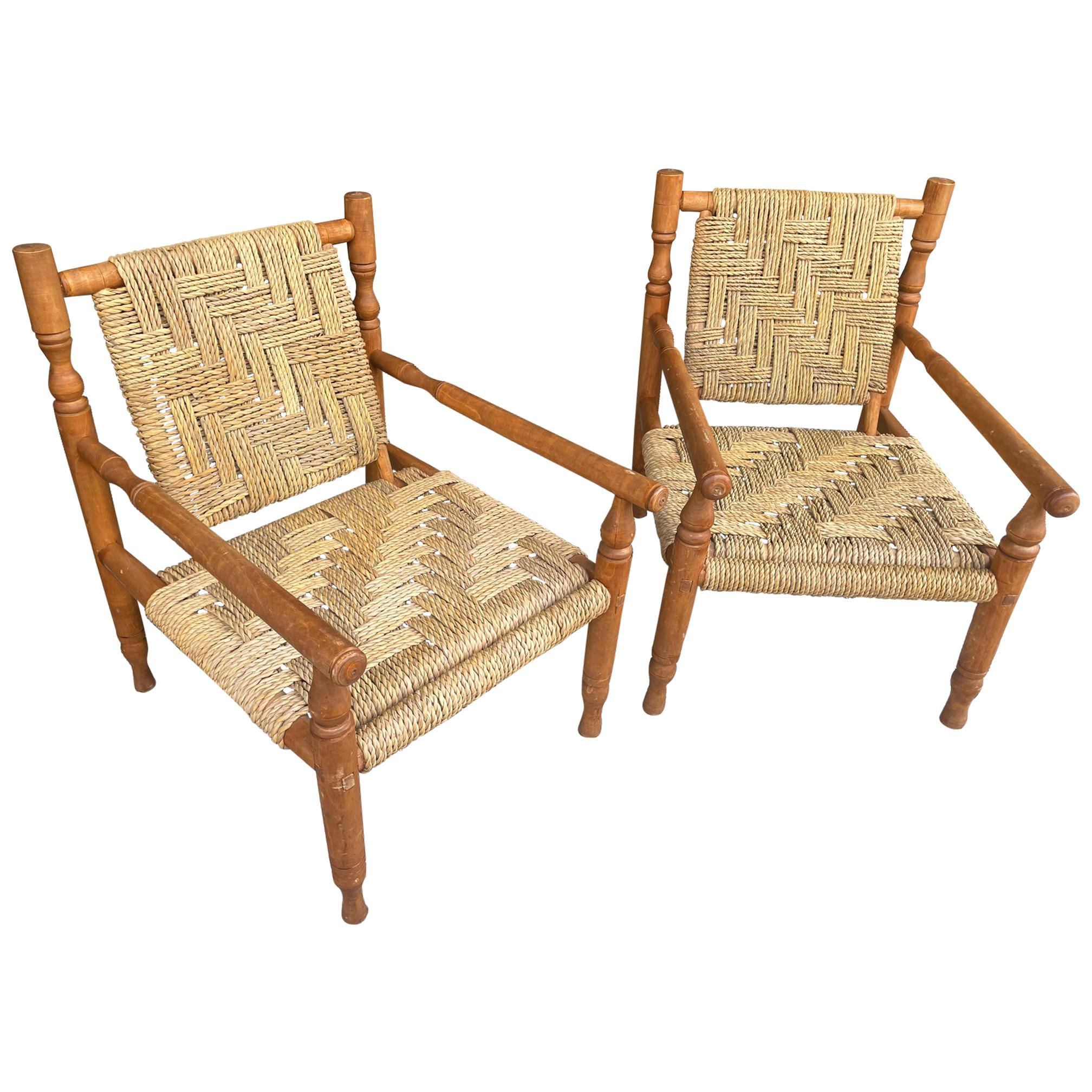 Wonderful Pair of 1950s French Rope and Wood Chairs by Audoux and Minet