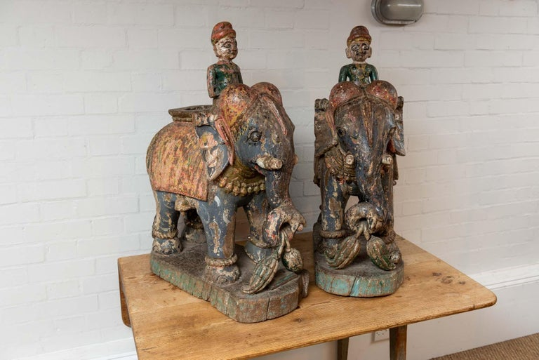 Indian Wonderful Pair of 19th Century Original Painted Elephants from Rajasthan For Sale