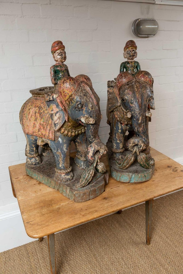 Hand-Painted Wonderful Pair of 19th Century Original Painted Elephants from Rajasthan For Sale