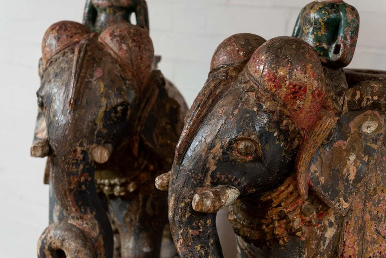 Wonderful Pair of 19th Century Original Painted Elephants from Rajasthan In Good Condition For Sale In London, GB