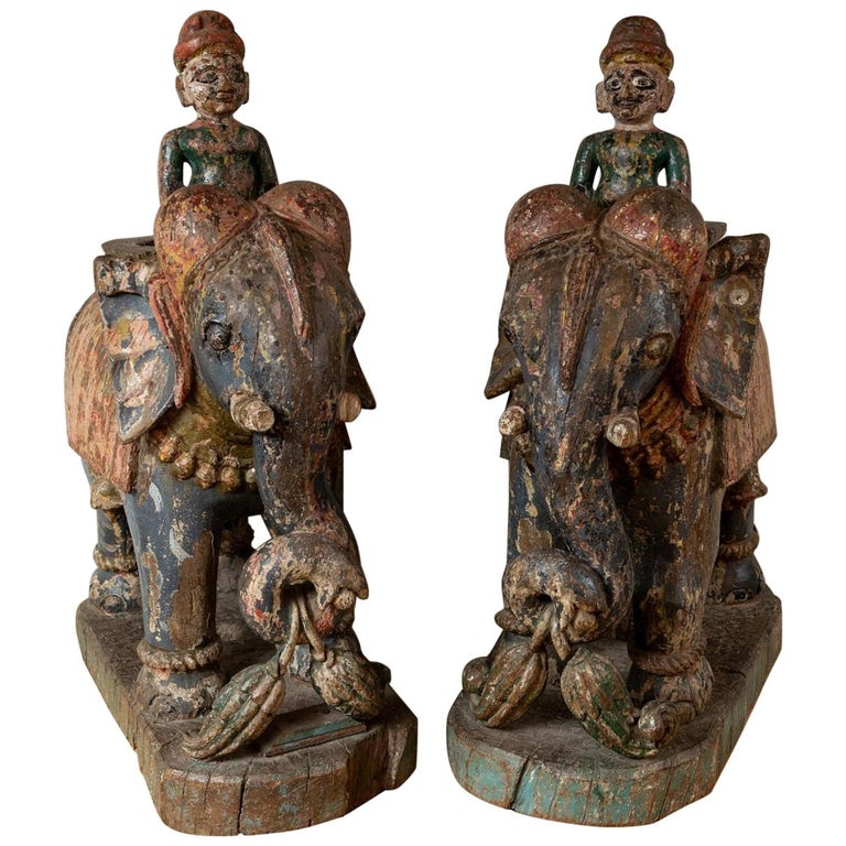 Wonderful Pair of 19th Century Original Painted Elephants from Rajasthan For Sale
