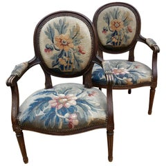 Wonderful Pair of 19th Century Tapestry and Carved Wood Armchairs
