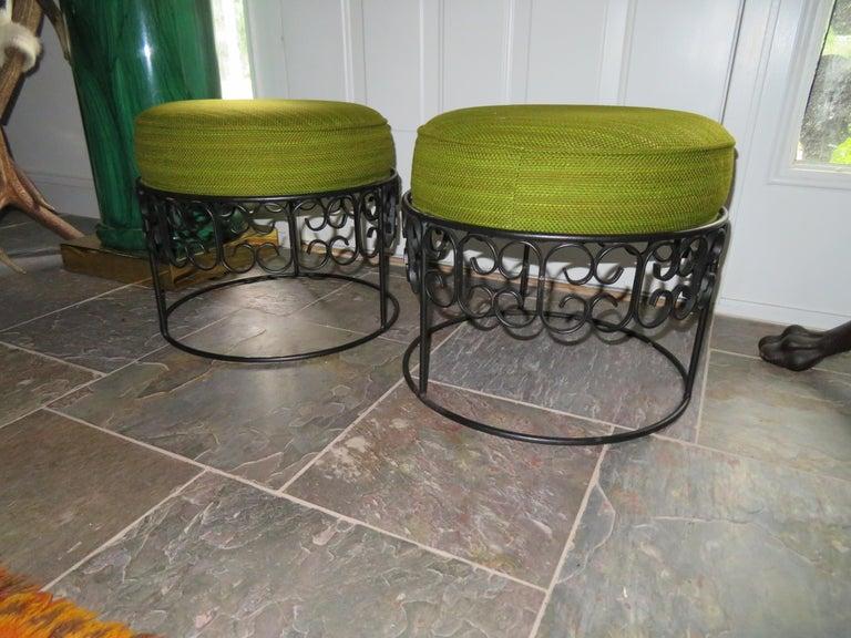 Wonderful Pair of Arthur Umanoff Wrought Iron Stools Benches Mid-Century Modern For Sale 5