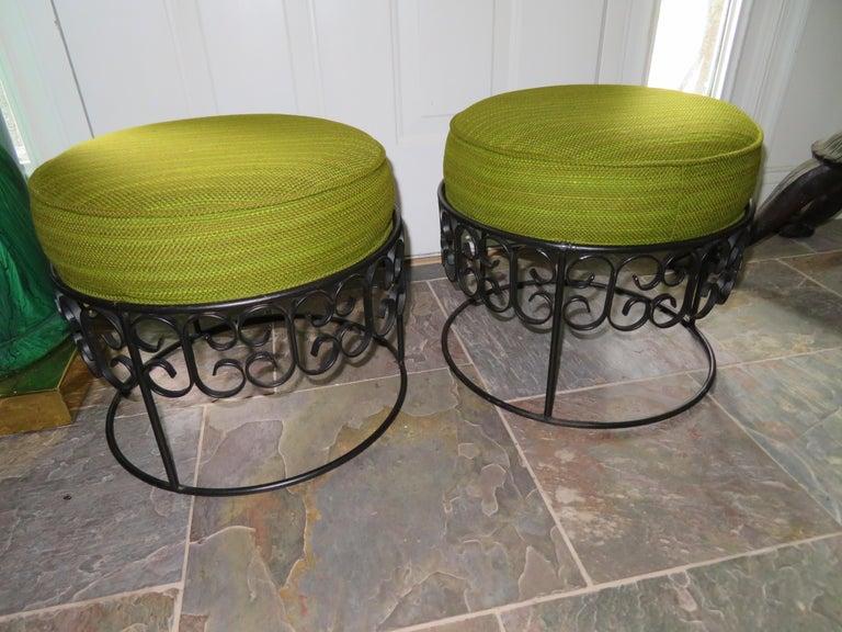 Wonderful Pair of Arthur Umanoff Wrought Iron Stools Benches Mid-Century Modern For Sale 6