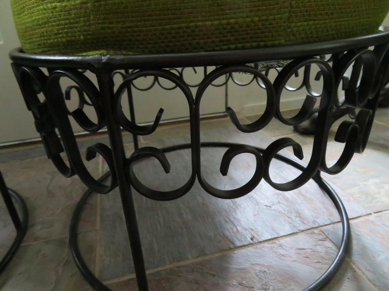 Upholstery Wonderful Pair of Arthur Umanoff Wrought Iron Stools Benches Mid-Century Modern For Sale