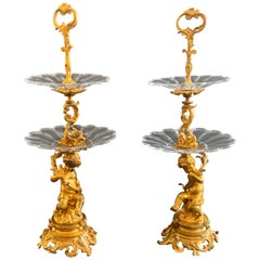 Wonderful Pair of Bronze Louis XV Putti Cherub 2-Tier Crystal Desert Stands