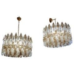 Wonderful Pair of Chandeliers Venini