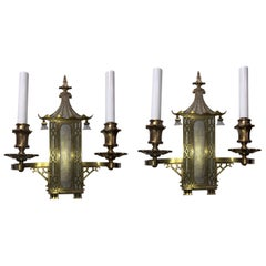 Wonderful Pair of Chinoiserie Pagoda Silvered Bronze Sconces E.F. Caldwell Rare
