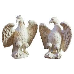 Wonderful Pair of Classic Eagles Cast Concrete