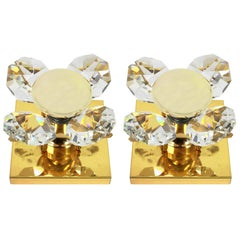 Wonderful Pair of Crystal Flower Sconces by Christoph Palme, Germany, 1970s