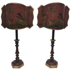 Wonderful Pair of Dark Red Candlestick Table Lamps with Fancy Decoupage Shades