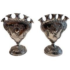 Wonderful Pair of European Baroque 800 Sterling Silver Bud Vases