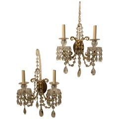 Wonderful Pair of French Doré Bronze Crystal Neoclassical Regency Empire Sconces