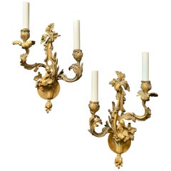 Wonderful Pair of French Dore Bronze Rococo Figural Chinoiserie 2-Light Sconces