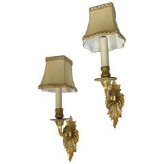 Wonderful Pair of French Doré Bronze Rococo Single Candelabrum Arm Sconces