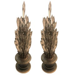 Wonderful Pair of French Empire Neoclassical Bronze Crystal Spike Lamps Fixtures