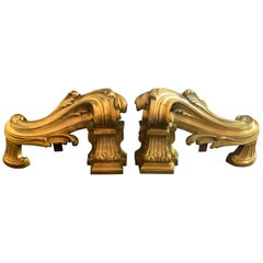Wonderful Pair of French Louis XV Neoclassical Regency Bronze Fireplace Andirons