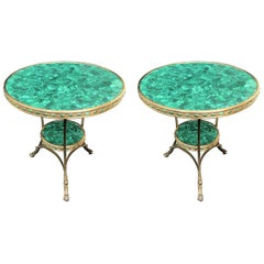Wonderful Pair of French Malachite and Gilt Bronze Gueridons, Jeweled Sides