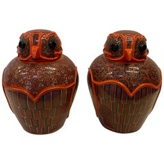 Wonderful Pair of Intricately Hand Painted Burmese Owl Jars