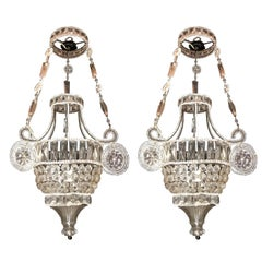 Wonderful Pair of Italian Beaded Crystal Basket Urn Pendent Chandeliers Fixtures
