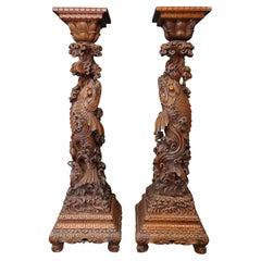 Wonderful Pair of Japanese Large Wood Pedestals