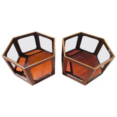 Wonderful Pair of Lane Octagon Glass Walnut Side End Tables Mid-Century Modern
