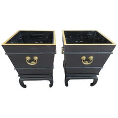 Wonderful Pair of Large Asian Modern Black Lacquered Planter Chinoiserie