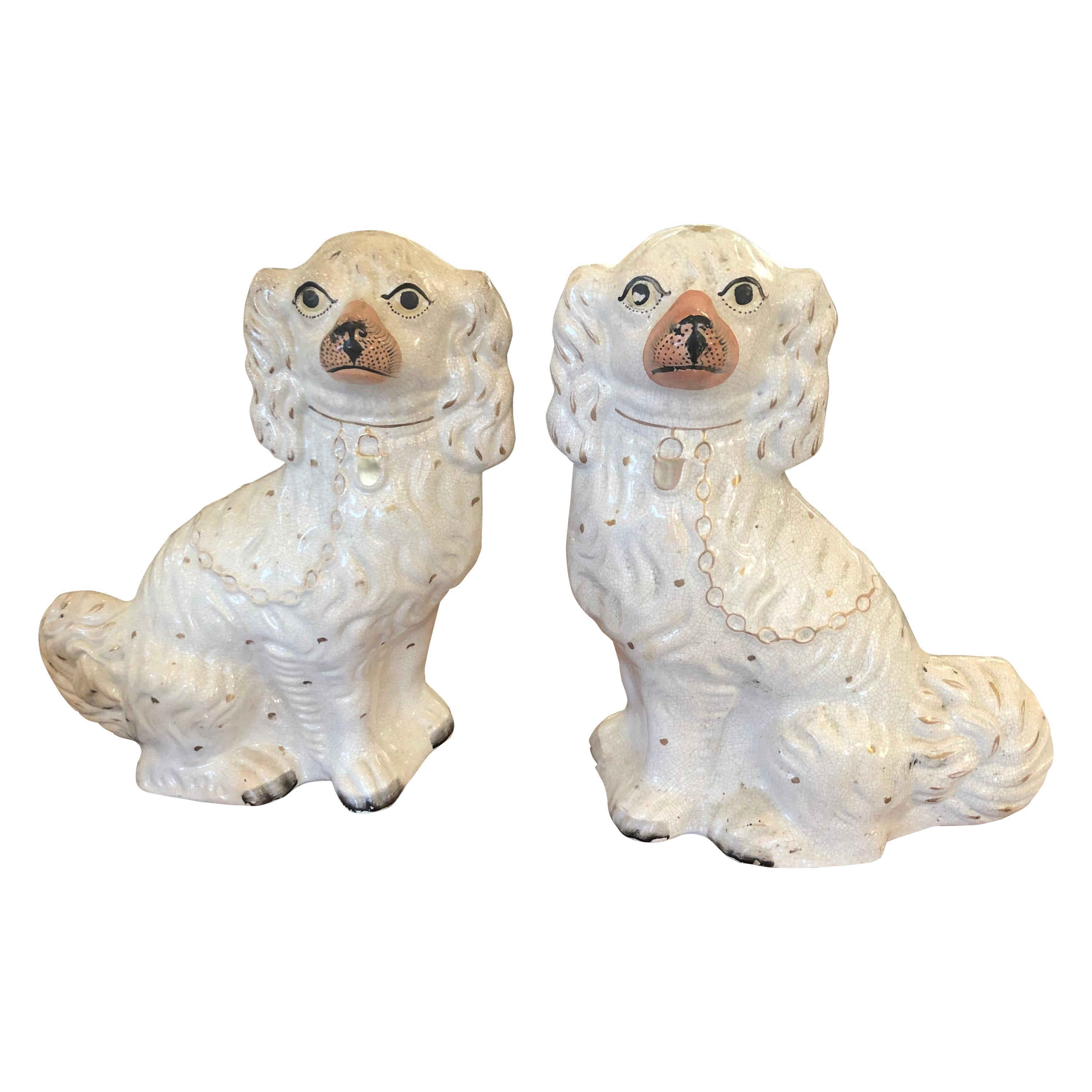 Wonderful Pair Large Staffordshire Porcelain Off White and Terracotta Spaniels