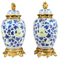 Pair of Late 19th Century Gilt Bronze Mounted Porcelain Vases in Chinese Style