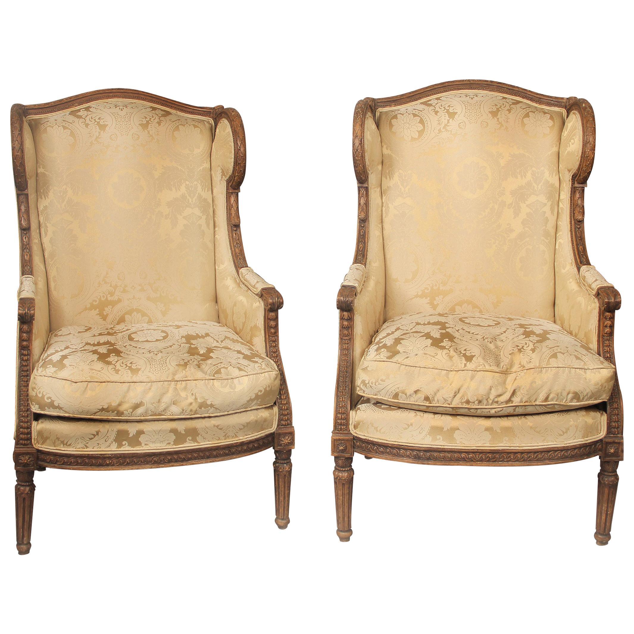 Wonderful Pair of Late 19th Century Louis XVI Style Carved Wood Bergères