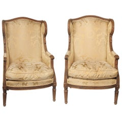 Wonderful Pair of Late 19th Century Louis XVI Style Carved Wood Bergères