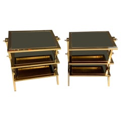 Wonderful Pair of Lorin Marsh Polished Brass and Mirror Three-Tier Side Tables
