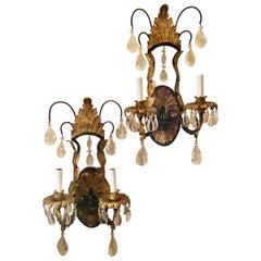 Wonderful Pair of Louis XV Rock Crystal Iron Gold Gilt Filigree Baguès Sconces