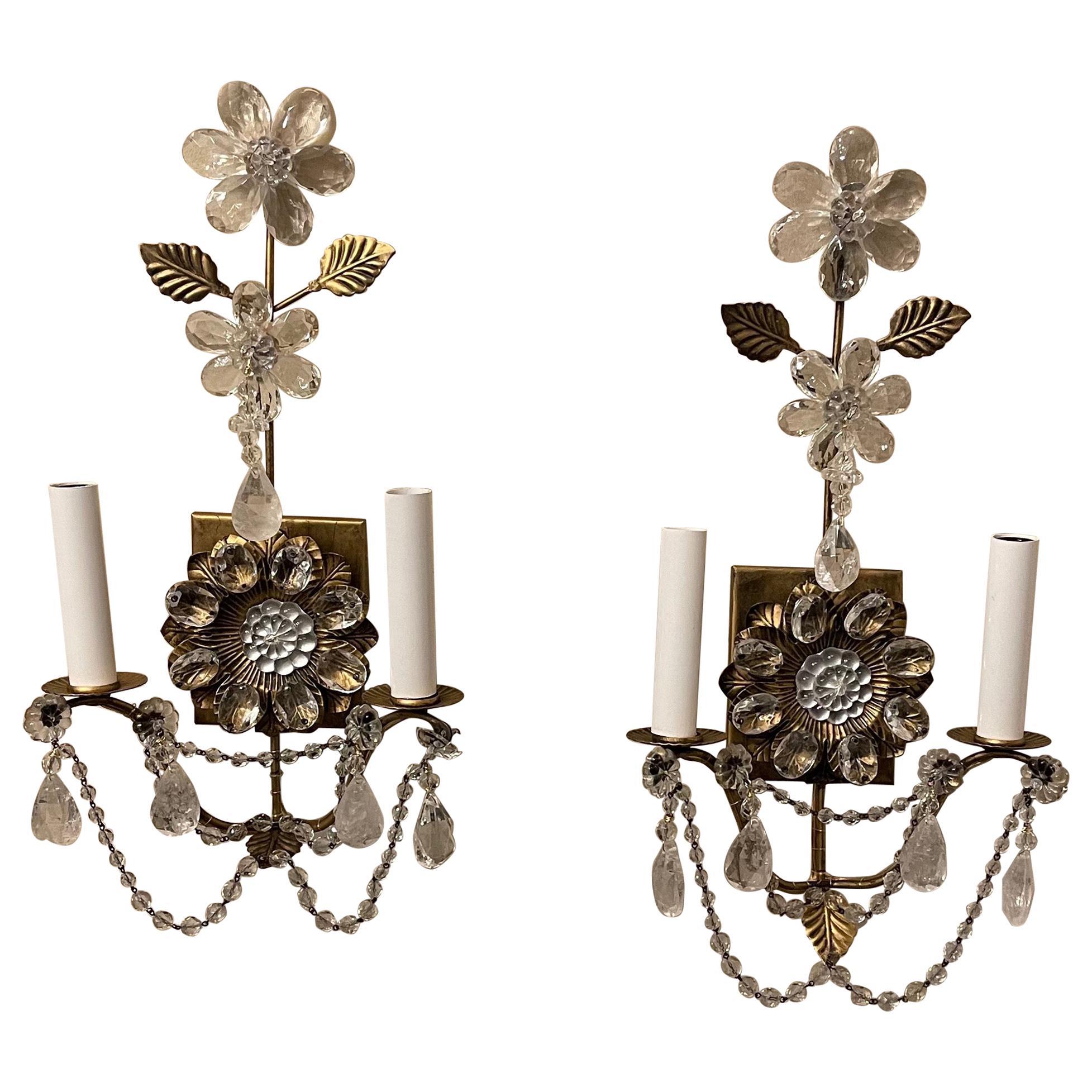 Wonderful Pair of Maison Baguès Rock Crystal Gilt Tole Glass Flower Leaf Sconces