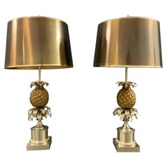 Wonderful Pair of Maison Charles Pineapple Table Lamps