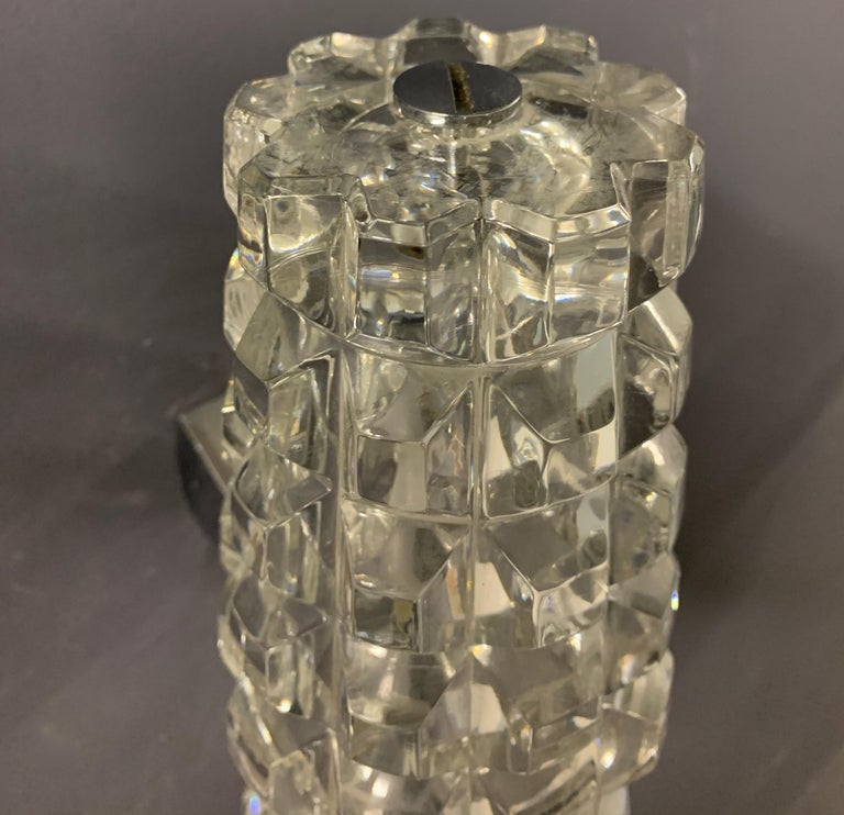 Wonderful Pair of Massive Crystal Wall Scones For Sale 1