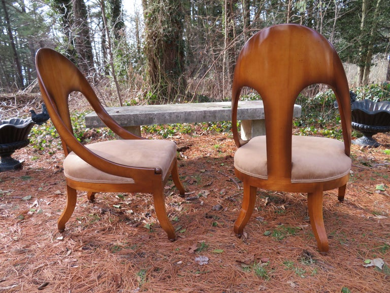 Wonderful Pair of Michael Taylor for Baker Spoon Back Neoclassical Chairs For Sale 11
