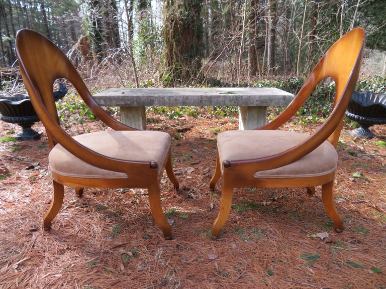 Wonderful pair of Michael Taylor for Baker spoon back neoclassical chairs. Wow, these vintage chairs are stunning in person, we love the original finish which has a kind of distressed finish that is a bit darker around the edges-ombre effect. These