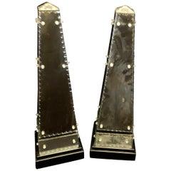Wonderful Pair of Mid-Century Modern Antiqued Venetian Italian Mirrored Obelisk