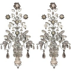Wonderful Pair of Mid-Century Modern Baguès Rock Crystal Silver Jansen Sconces